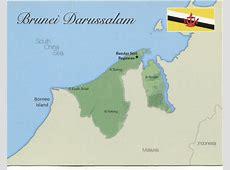 Map of Brunei Darussalam [mapB02] $100 Postcard