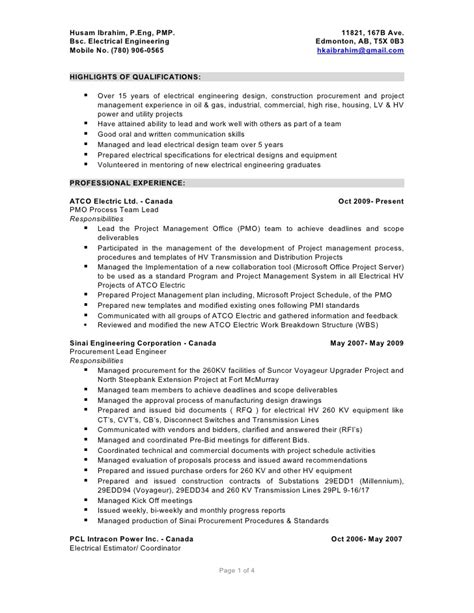 Electrical Estimator Resumes by Husam Ibrahim Detailed Resume 05012010