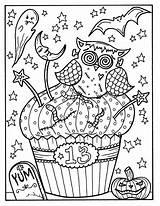 Halloween Cupcakes Coloring Adult Printables Cupcake Owl Witch Printable Sheets Creepy Eule Kleurplaten Pinup Octopus Ausmalbilder Sweets Catal Pins sketch template
