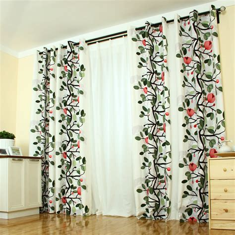 beautiful printed floral cotton curtain for country