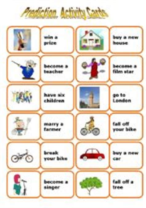 english worksheets future prediction cards game