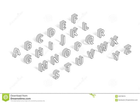 Isometric Vector Font Alphabet Line Art Stock Vector