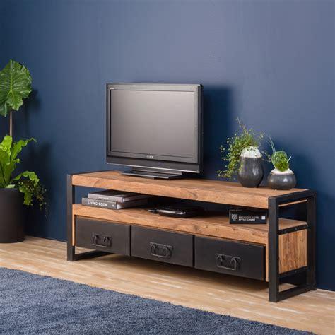 meuble tv industriel  tiroirs bois fonce   meubles
