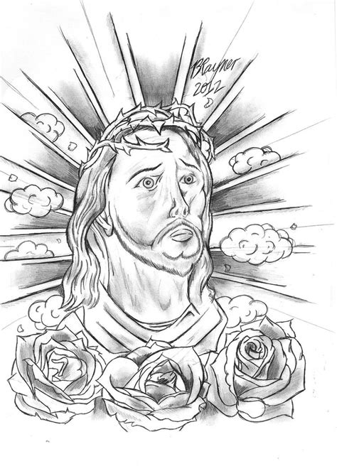 Rose Flowers And Jesus Christ Tattoo Design