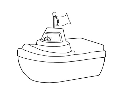 Toy Boat Outline by Tugboat Clipart Black And White