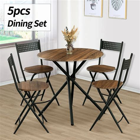 piece dining table set  chairs wood kitchen dinette