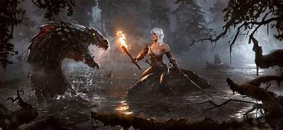 Witcher Ciri Lake Cintra Torch Dog Elen