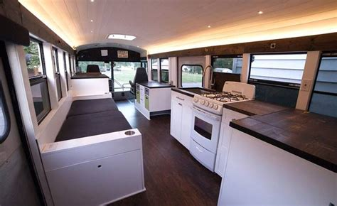couples school bus   modern motorhome  working
