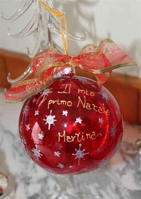 Pallina Natalizia in vetro rossa personalizzabile con scritta