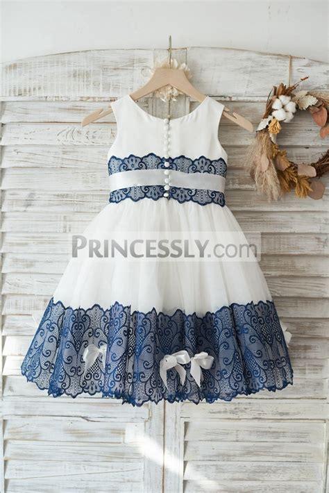 ivory satin tulle navy blue lace wedding flower girl dress
