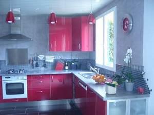 idee deco cuisine grise et rouge With deco cuisine grise et rouge