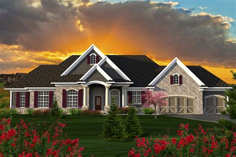sprawling craftsman ranch house plan ah architectural designs house plans