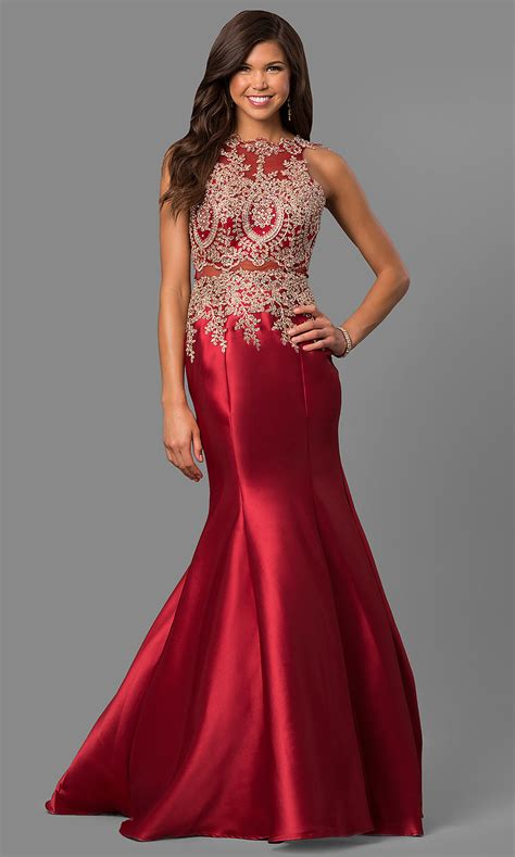Open-Back Satin Prom Dress with Embroidery - PromGirl