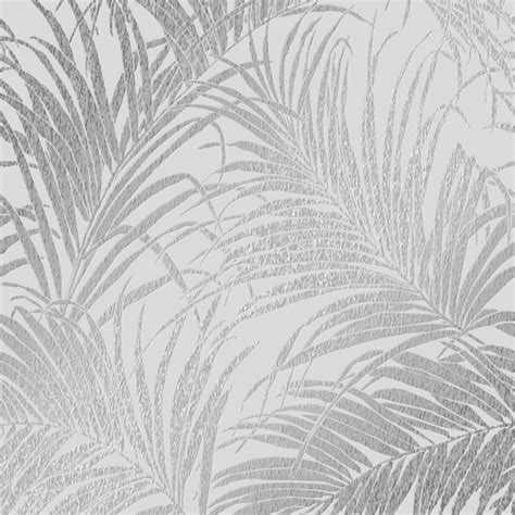 sapphire palm leaf wallpaper grey silver wallpaper