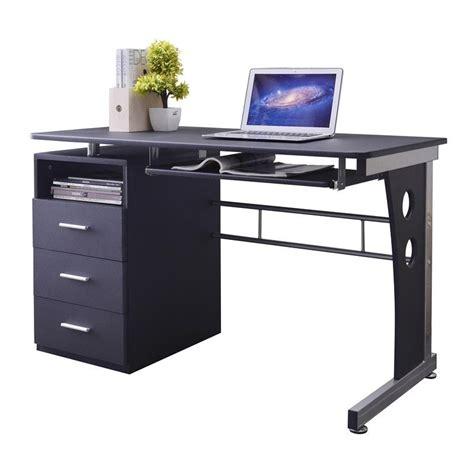 bureau avec tiroirs bureau informatique noir avec tiroirs de rangement et tablette