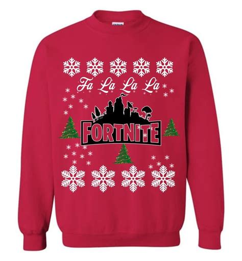 fortnite ugly christmas sweatshirt falalala funny