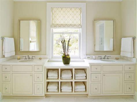 Cream Bathroom Vanity With White Marble Countertop