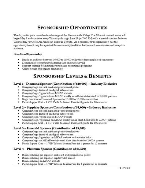 concert sponsorship proposal template  piece