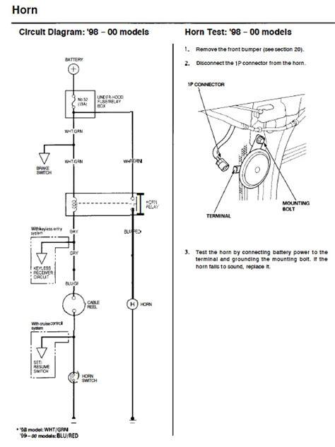 honda civic horn wiring diagram horn wiring hondacivicforum com