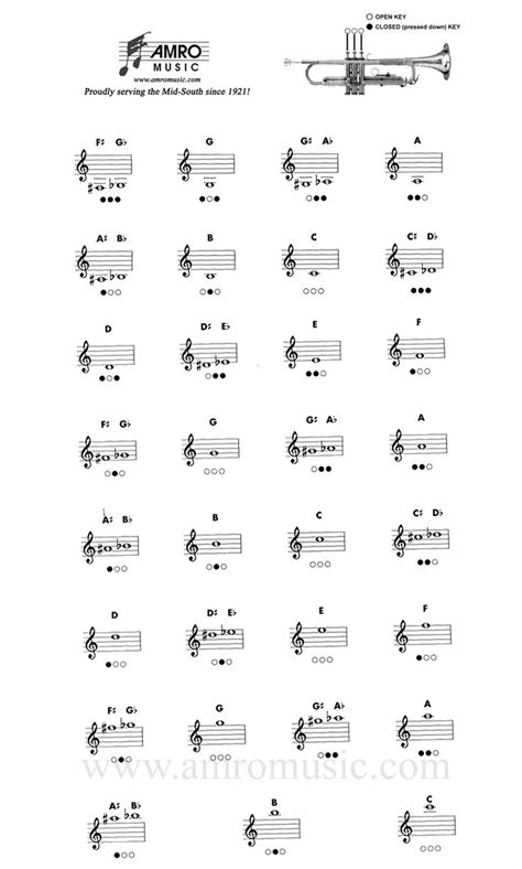 Trumpet Fingering Chart...In case you didnt know