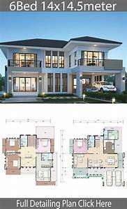 6, Bedroom, Modern, House, Plans, 2021