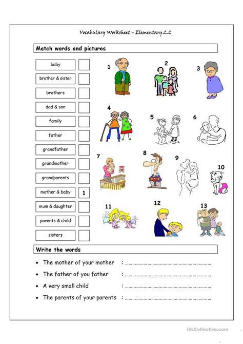 Vocabulary Matching Worksheet  Elementary 22 (family) Worksheet  Free Esl Printable