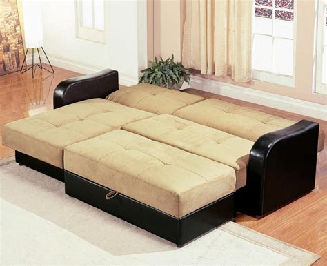 Black Leather Convertible Sleeper Sofa With Light Brown