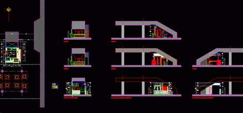 coffee shop  shopping mall furnished staircase dwg