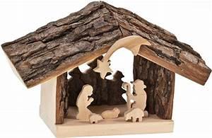 Türschilder Holz Familie : holz krippenstall mit rindendach und heiliger familie ~ Lizthompson.info Haus und Dekorationen
