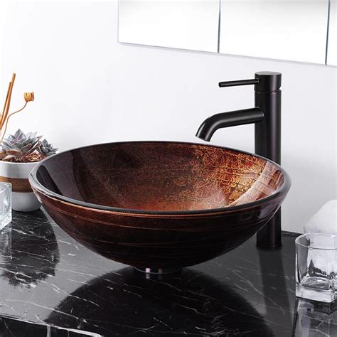 Bathroom Sinks Vessel Bowls by Yescomusa Artistic Tempered Glass Vessel Sink Bathroom