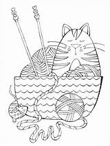 Knitting Coloring Books Coloriage Yarn Chat Clip Adult Needles Animaux Template Cat sketch template