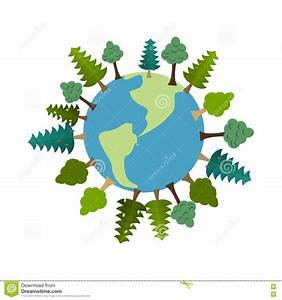 Earth And Trees. Green Planet. Vegetation On Land. Forest ...