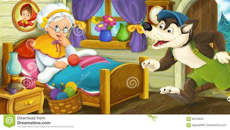 una donna alla casa scena fumetto di un lupo entra alla casa di una
