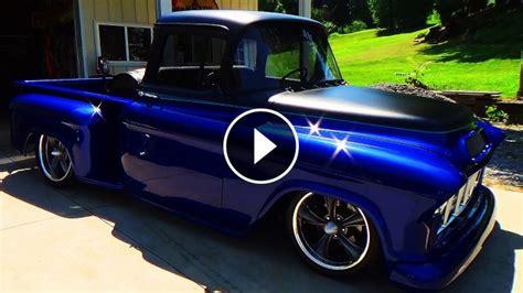 55 chevy street truck with an eye pleasing blue paint job