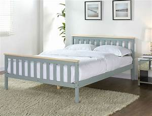 Solid Pine Grey Wooden Bed Frame Pine Double King Single Size Mattress Option