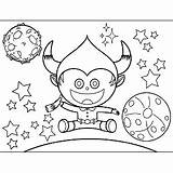 Alien Horns Space Coloring Science Fiction Printable Print sketch template