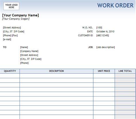 printable excel  work order templates trainingable