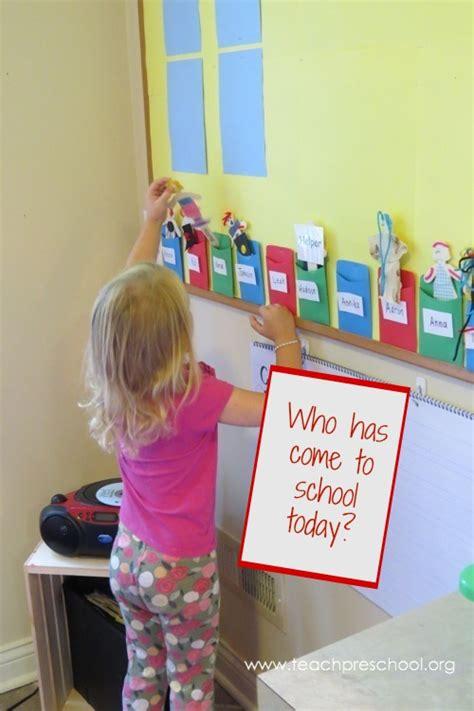 daily attendance    stick puppet teach preschool