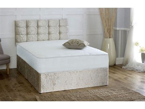 Divan Beds With Headboards by Pocket Sprung Memory Foam Crushed Velvet Divan Bed With