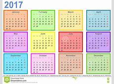 Calendar 2017 Com Campos Coloridos Pelo Mês E Os Feriados