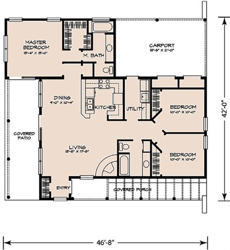 3 bedroom ranch house floor plans adobe southwestern style house plan 3 beds 2 baths