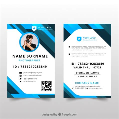id card design template id card template with flat design vector free