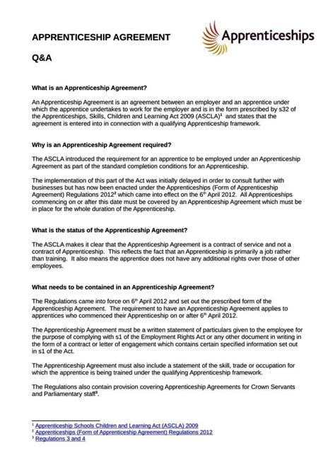 Apprenticeship Contract Template Apprenticeship Contract Template Sletemplatess