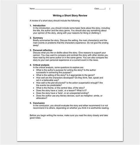 writing short story review outline outline templates