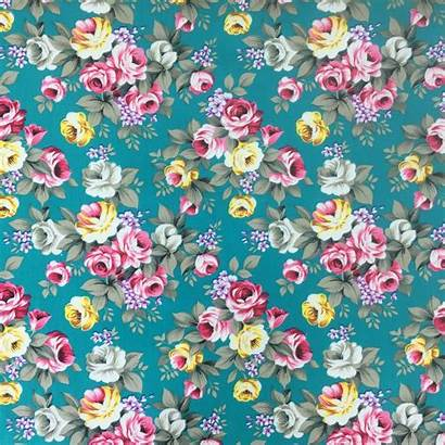 Floral Teal Cotton Fabric Roselyn