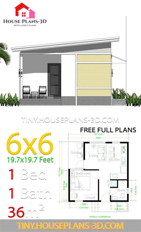 bedroom house plans   shed roof tiny house plans
