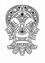 African Coloring Culture Mask Printable Getcolorings sketch template