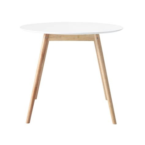 table 224 manger ronde blanche 4 personnes d90 rubber tree wood rounds and dining table