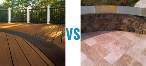 wood deck vs concrete patio modern patio outdoor