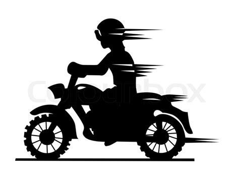 motorcyclist silhouette  white background stock photo